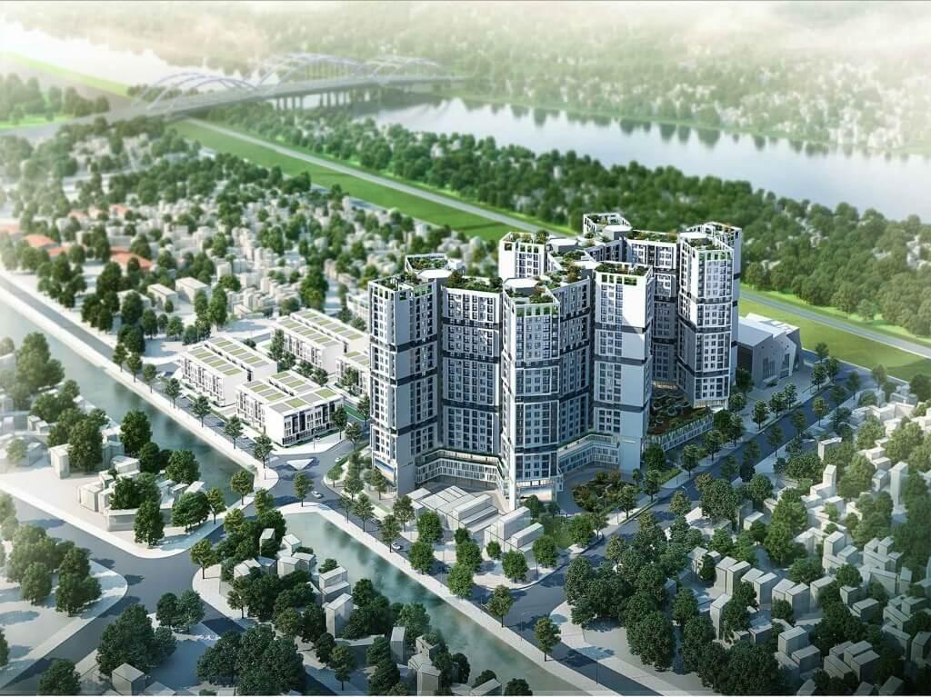 Phối cảnh dự án Tổ hợp công trình công cộng, trường học và nhà ở Đức Giang (Đức Giang Residence)